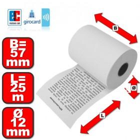 Thermorollen 57mm x 25m x 12 mm mit Lastschrifttext